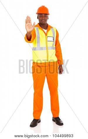 full length portrait of african american worker with stop gesture