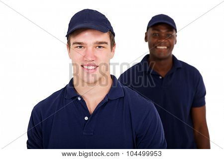 handsome young two workers on white