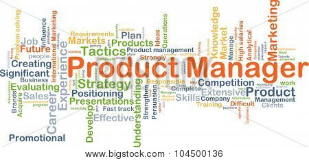 Background concept wordcloud illustration of product manager