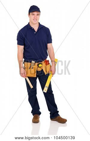 young builder holding a level isolated on white