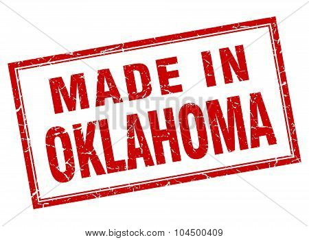 Oklahoma Red Square Grunge Made In Stamp