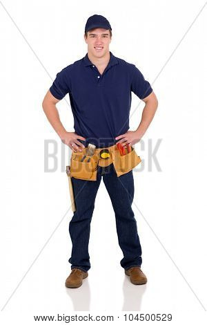 full length portrait of young blue collar worker