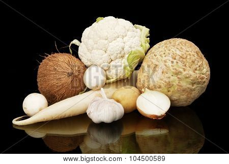 White Dietetic Vegetables-coconut,onion,selery On Black