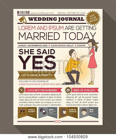 Cartoon Newspaper Wedding Invitation Card Design