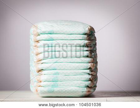 Stack of diapers. Studio Shot