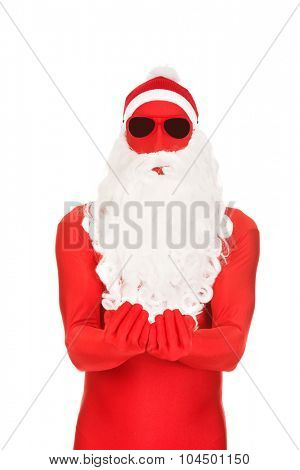 Santa in latex clothes with open hands.