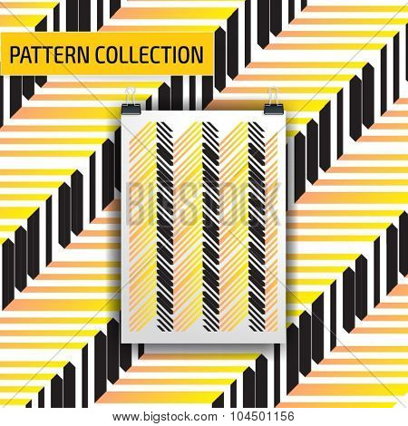 Beautiful seamless vector pattern background. Abstract stripped geometric texture
