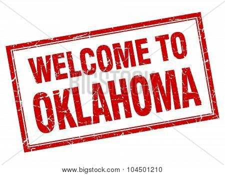 Oklahoma Red Square Grunge Welcome Isolated Stamp