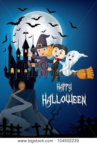 Little children and ghost fly with broom over Halloween background