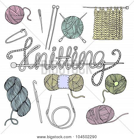 Hand drawn knitting set