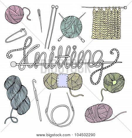Hand drawn knitting set