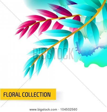 Seamless vector floral tropical pattern background with watercolor splash and jungle leaves.