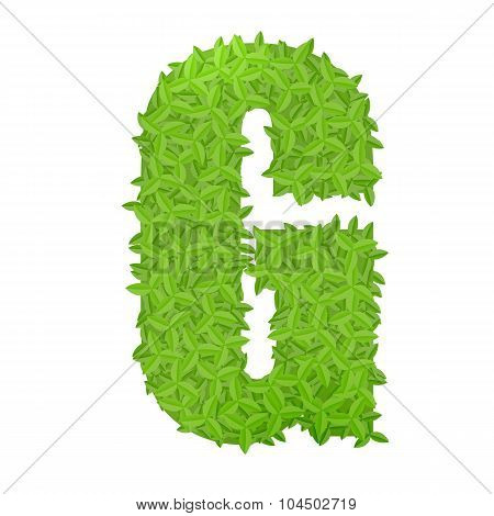 Uppecase letter G consisting of green leaves
