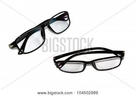 Black Frame Eyeglasses isolate on white background