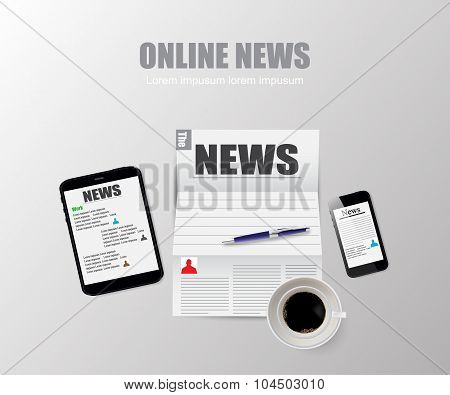 Online News Technology Vector Illustration