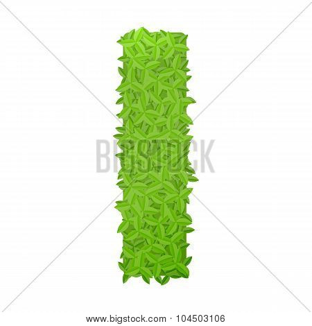 Uppecase letter I consisting of green leaves