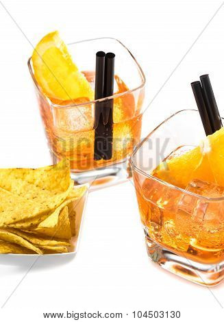 Top Of View Of Two Glasses Of Spritz Aperitif Aperol Cocktail With Orange Slices And Ice Cubes Near