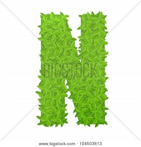 Uppecase letter N consisting of green leaves