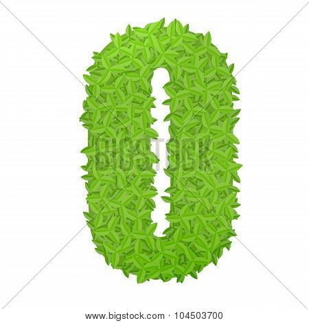 Uppecase letter O consisting of green leaves