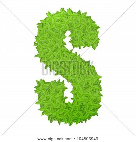 Uppecase letter S consisting of green leaves