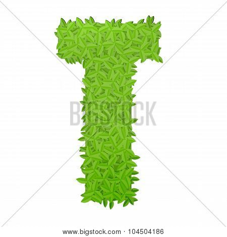 Uppecase letter T consisting of green leaves