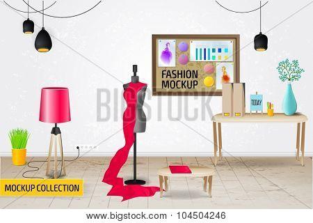 Modern Fashion workplace mockup template.