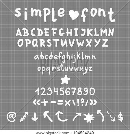 Vector Simple Hand Drawn Full Alphabet and signs