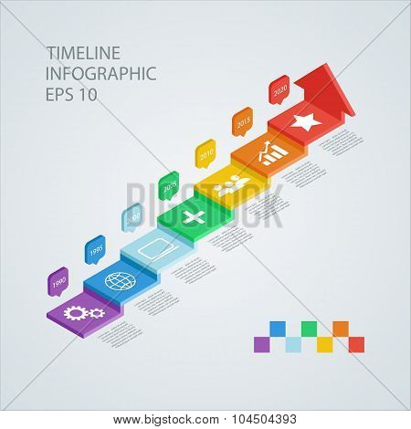 Isometric timeline infographic design template. Vector illustration.