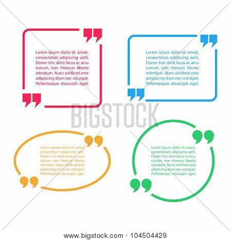Color Quotation Mark Speech Bubbles. Set of color quote sign icons.