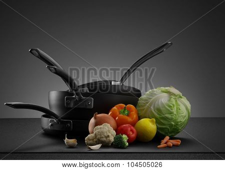 cooking set on grey
