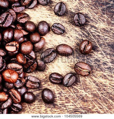 Coffee Beans Top View Image, Macro