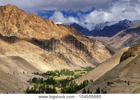 Rocky Landscape Of Ladakh With Green Valley , Leh, Jammu And Kashmir, India