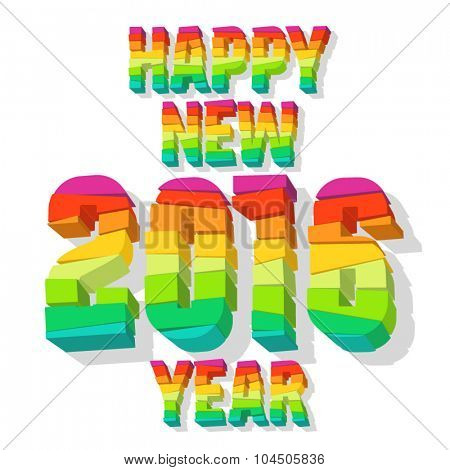 Happy new year greeting card with colorful 3D blocks