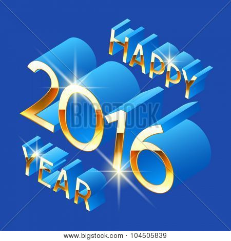 Happy new year greeting card with  3D  rotated  blue and gold letters