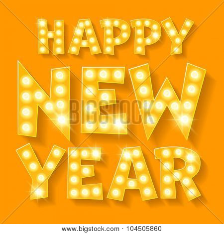 Happy new year greeting card with yellow lamp font