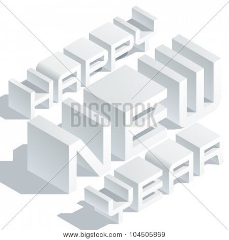 Happy new year greeting card with minimalistic white 3D font