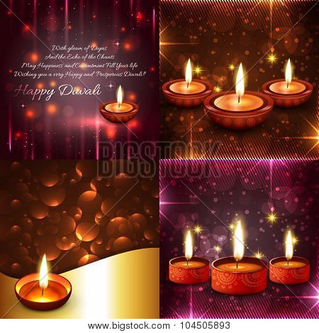 vector set of diwali background illustration in creative style