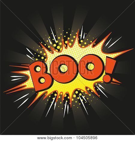 Halloween style pop art icon BOO, exploding over black background. Comic speech bubble in orange, yellow and black.