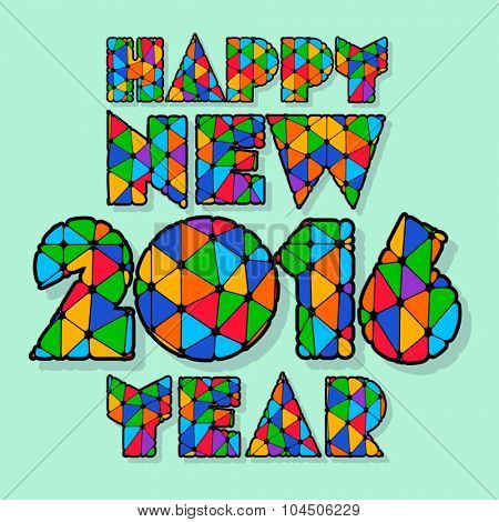 Happy new year greeting card with colorful patchwork letters