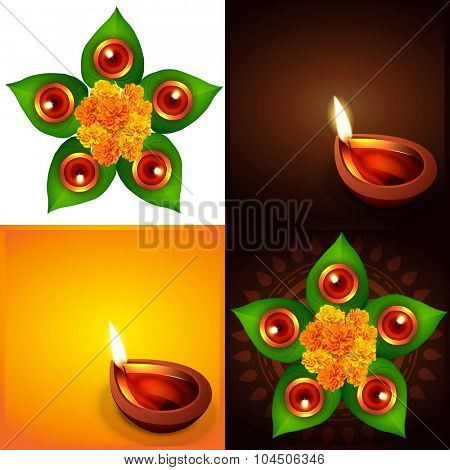 vector collection of happy diwali background  with diwali diya and leaf illustration
