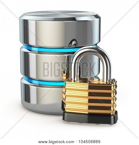 Database storage security concept. Disk with lock isolated on white, 3d