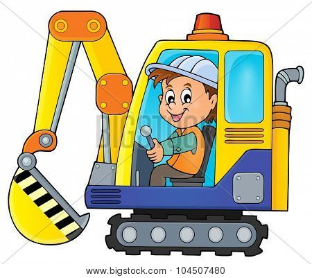 Excavator operator theme image 1 - eps10 vector illustration.