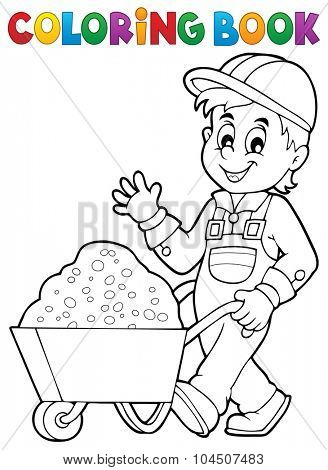 Coloring book construction worker 1 - eps10 vector illustration.