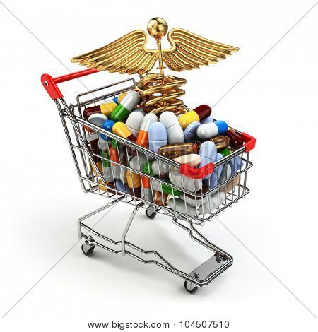 Pharmacy medicine concept. Shopping cart with pills and caduceus symbol. 3d