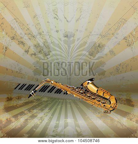 Background Music Jazz Saxophone And Piano Keys