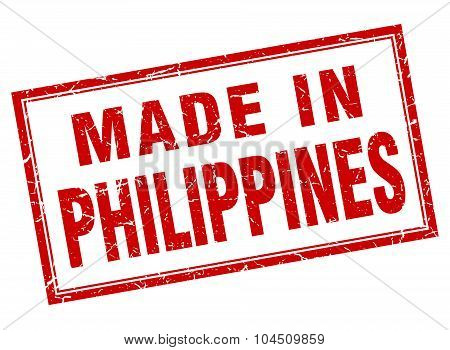 Philippines Red Square Grunge Made In Stamp