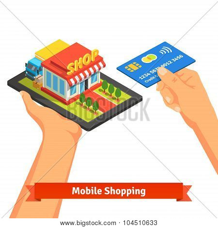Mobile supermarket internet commerce concept