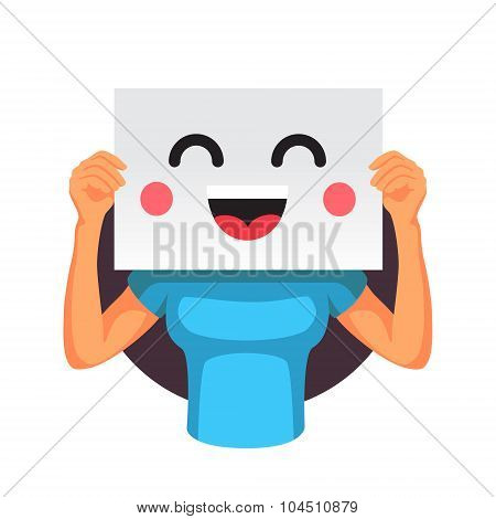 Woman holding a smiling emoticon in front of head