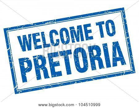 Pretoria Blue Square Grunge Welcome Isolated Stamp