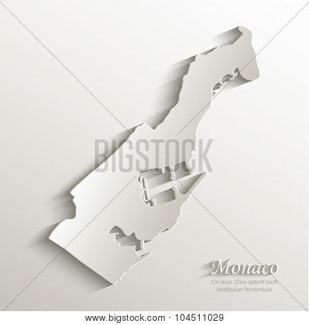 Monaco map card paper 3D natural vector